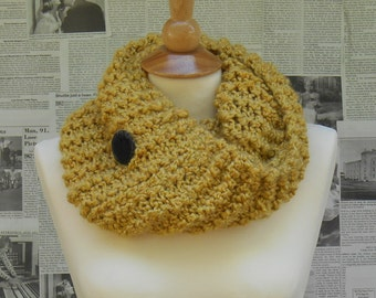 Yellow Cowl with Black Felt Button