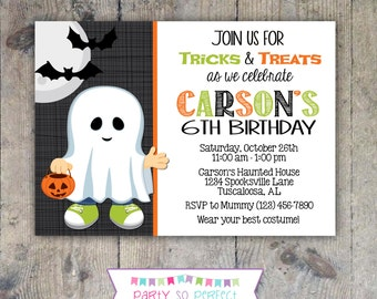 HALLOWEEN GHOST INVITATION 5x7 Birthday Party - Boy Printable