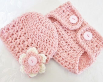 Newborn Baby Girl Diaper Cover and Beanie Set, crocheted in pink and white, great shower gift or photo prop.
