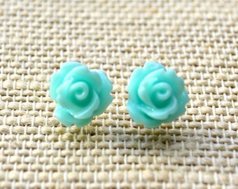 Teal Roses . Studs . Earrings . Rose Studs Collection