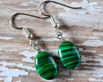 Malachite Ovals . Earrings