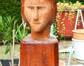 Vintage French Peasant Hand Carved Wood Sculpture - Solid Wood - Home Decor