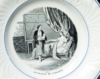 Antique French Creil and Montereau Decorative Plate Or Dinner Plate - 1834 - No 1 Naissance De Virginie - LM & Cie