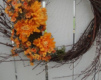 Twig Wreath   Natural Wreath   Birch Twig Wreath  Autumn Wreath  Hand Crafted Wreath   Fall and Autumn Decor
