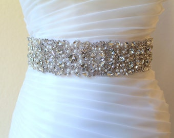 Sale 30% off.  Bridal beaded couture crystal sash. Rhinestone pearl luxury wedding belt, 2 inches wide. MAGNIFICAT