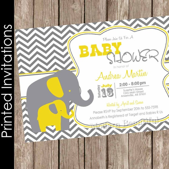Printed boy elephant baby shower invitation yellow and grey yellow il570xn filmwisefo Choice Image