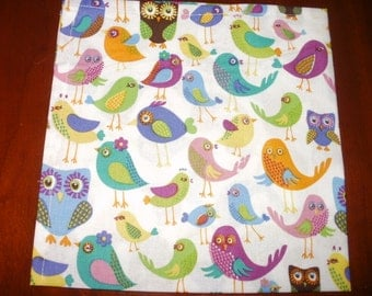 Sale...Dinner Napkins...Large 17 inches...Birds...Stitched Hems Not Serged...Eco Friendly...Reusable...Washable...FREE SHIPPING