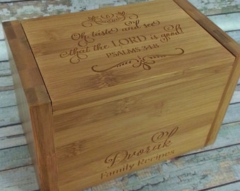 SOLD AS IS - Close out  Oh taste and see that the Lord is good Recipe Box Psalms 34:8 4x6 inch recipe cards Secret Family Recipe Box