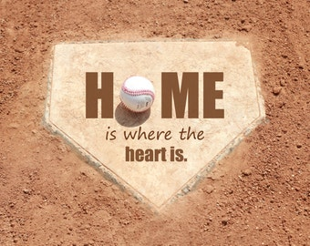 Baseball Love Home is where the Heart is Home Plate Fathers Day Photography Art Print Sepia Sports  - 8 x 10 art print by Dawn Smith