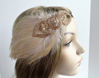 1920s Headband for 1920s Dress, Beige Feather with Champagne Gold Beaded Fascinator, 1920s Headpiece for Gatsby Dress