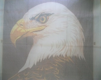 Vintage Hook Rug Kit, Very Large Eagle Hook Rug Canvas, Bald Eagle Hook Rug kit, 44 by 42 Hook Rug Canvas