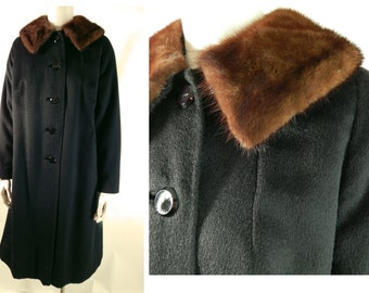 1950s vintage alpaca coat with mink collar medium large.