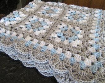 Crochet baby blanket crochet baby afghan granny square handmade baby blanket new baby nursery decor READY TO SHIP