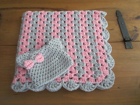Baby Girl Blanket Set Crochet Granny Stripe Crochet Blanket