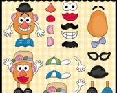 Mr. Potato Potatoe Man Fun Mustache Glasses  Clipart Scrapbook Printable Christmas Party Gift Tags