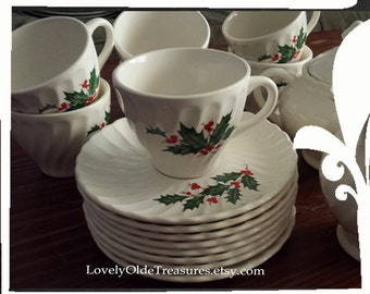 Christmas in July SALE Vintage Christmas Dishes- Scio White Swirl Holly Set- Midcentury Dishes- Holiday Tea Set- Holiday Creamer & Sugar