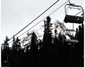 Black and white photography, mt hood , empty ski lifts, fine art print
