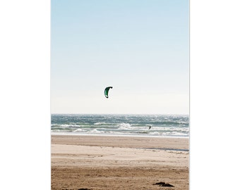 Oregon coast photo, kiteboarding, beach photography, fine art print