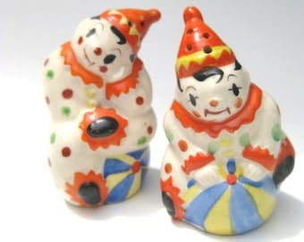 Pair of Adorable Clown Salt & Pepper Shakers Made in Japan