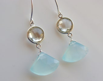 Sky Blue Chalcedony and Green Amethyst 925 Sterling Silver Earrings