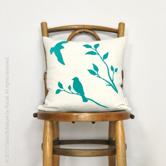 Love birds pillow cover - Turquoise bird print on off white canvas front and ikat print back - 16x16 decorative pillow cover