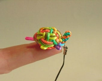Super Cute Mini-Turtle Phone Charm, by Chinese Knot Craft, Rainbow Color, UNIQUE
