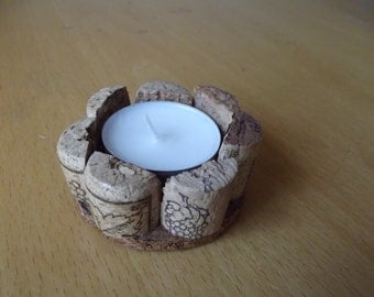 Recycled Cork Tea Light Candle Holder with Cork bottom - Very chic!