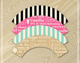 Ice Cream Party - Cupcake Wrappers - Pink and Aqua Party
