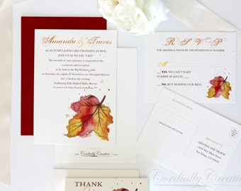 Fall Leaf Wedding Invitation, watercolor illustrated for fall or outdoor wedding, shower, anniversary, birthday, party, and more