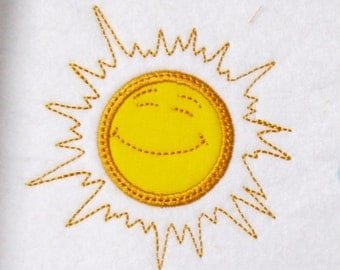 SUN - machine embroidery applique designs, multiple sizes for hoop 4x4, 5x7 and 6x10 INSTANT DOWNLOAD