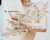 Champagne Alencon Lace Appliques Floral Embroidered Patches For Wedding Supplies Bridal Hair Flower Headpiece 1 Pair