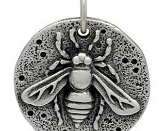 Sterling Silver 20x16mm Ancient Coin Charm with Bee - 1pc 10% discounted High Quality Shiny Charms (5972)/1