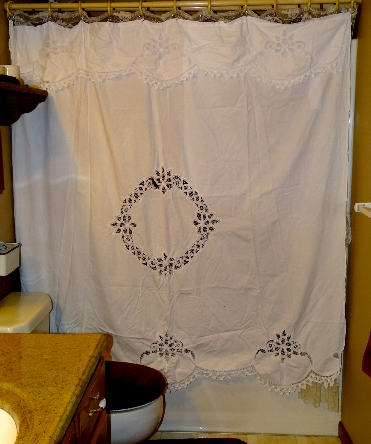 vintage battenburg lace shower curtain with attached valance