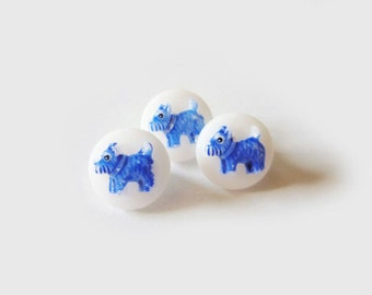 3 Blue & White Dog Buttons, Vintage, Kids Buttons, Glass, 10mm (1cm)