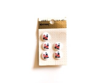 5 Red, White & Red Train Buttons, French Vintage Buttons Card, Kids