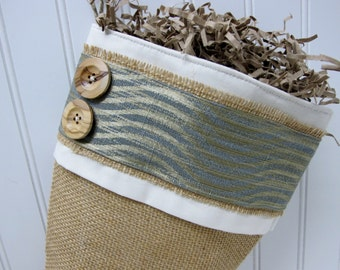 Beach Christmas burlap stocking in Gold and Storm blue