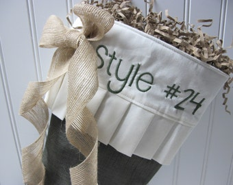 Green burlap Christmas Stocking - Style #24