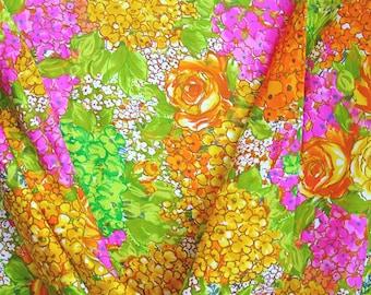 Vintage Multicolor Floral Polished Cotton- Retro Tropical Wild- 44 inch x 3.25 yds