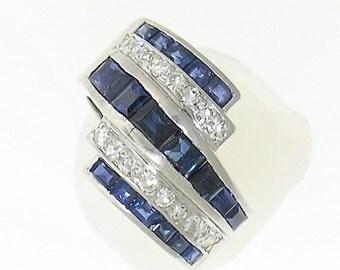 Art Deco Platinum Diamond and Sapphire Ring, Circa 1935