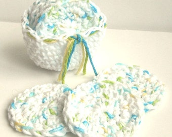 Crochet Scrubbies with Crochet Basket - Set of 7  - Blue, Green, Yellow, White - 100% Cotton