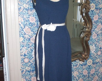 Size Medium/Large Navy Cotton Waffle Knit mid calf Sleeveless Tank Dress Jumper