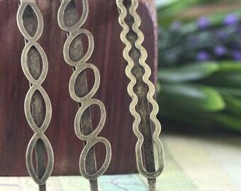 10pcs 53mm Antiqued Bronze Color Plated Metal Hair Clip Flat Barrettes