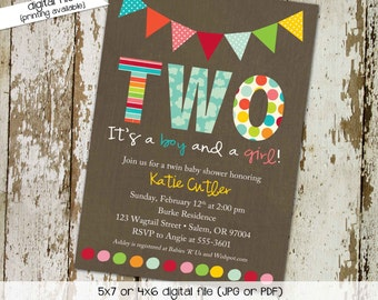 twin baby shower invitation polka dots bunting banner rainbow sip and see baby sprinkle birthday diaper (item 156) shabby chic invitations