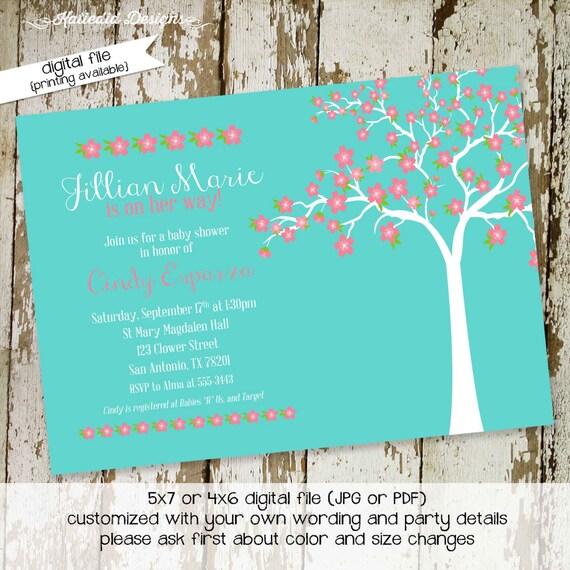 rustic baby girl shower invitation little girl 1st birthday cherry blossom tree memorial announcement diaper wipe brunch 134 Katiedid cards