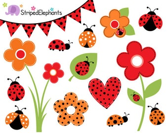 Lady Bug Clip Art - Lady Beetle Clipart - Bug Clipart - Insect Clip Art - Instant Download - Commercial Use