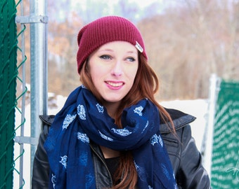 Navy Blue Owl Scarf