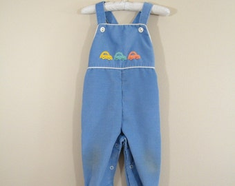 Vintage 1970s Baby Overalls / 9 Months / Corduroy Car Overalls