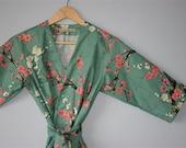 Kimono Robe. Kimono. Dressing Gown. Bridesmaid Robes. Spa Robe. Golden Garden Teal. Knee Length. Small thru Plus Size Kimono 2XL.