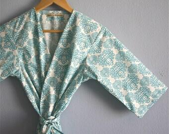 Kimono Robe. Turquoise Bridesmaid Robes. Turquoise Kimono. Turquoise Bridal Robe. Sonoma Farm House Turquoise.