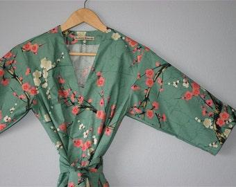 BACKORDERED until JULY. Kimono Robe. Kimono. Dressing Gown. Kimono Golden Garden Teal.